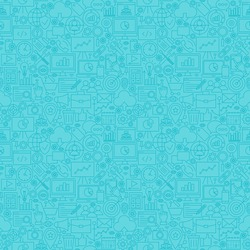 Mint Line SEO Seamless Pattern. Vector Illustration of Outline Tile Background. Web Development.