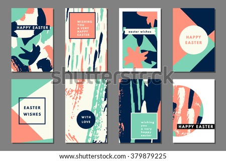 Mint peach pastel set of printable journaling cards, creative cards, art prints, hand drawn grunge texture, minimal label design for banner, poster, flyer. Happy Easter greeting cards
