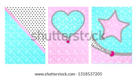 Mint pink color background with cute frame. Backdrop for kids party invitation in LOL doll surprise style. Shiny glitter sparkles. Unzipped curved line, star, heart shaped border. Little zipper lock