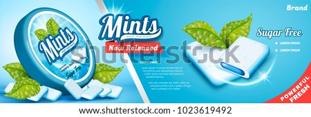 Mints gum ads, freshen breath product with mint leaves isolated on blue background, gum with cool fillings