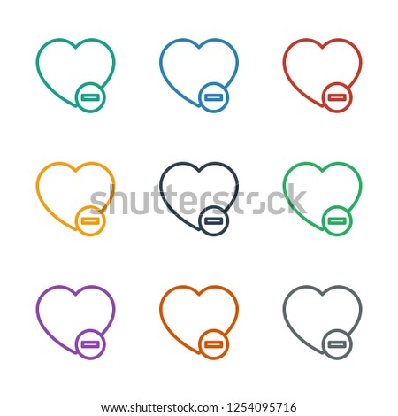 minus favorite icon white background. Editable outline minus favorite icon from love. Trendy minus favorite icon for web and mobile.