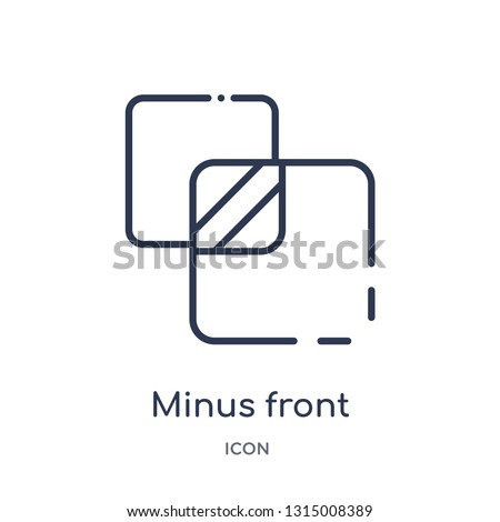 minus front icon from shapes outline collection. Thin line minus front icon isolated on white background.