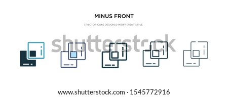 minus front icon in different style vector illustration. two colored and black minus front vector icons designed in filled, outline, line and stroke style can be used for web, mobile, ui