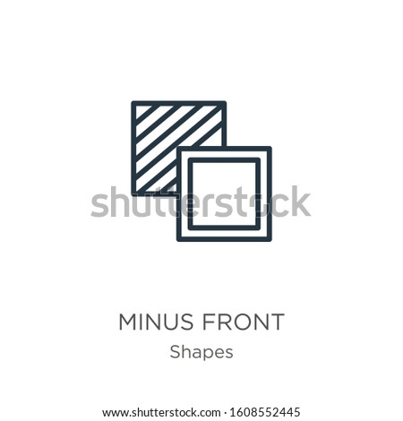 Minus front icon. Thin linear minus front outline icon isolated on white background from shapes collection. Line vector sign, symbol for web and mobile