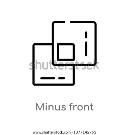 minus front vector line icon. Simple element illustration. minus front outline icon from shapes concept. Can be used for web and mobile