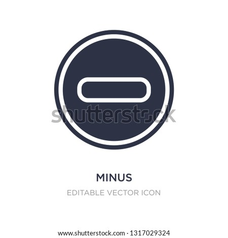 minus icon on white background. Simple element illustration from Signs concept. minus icon symbol design.