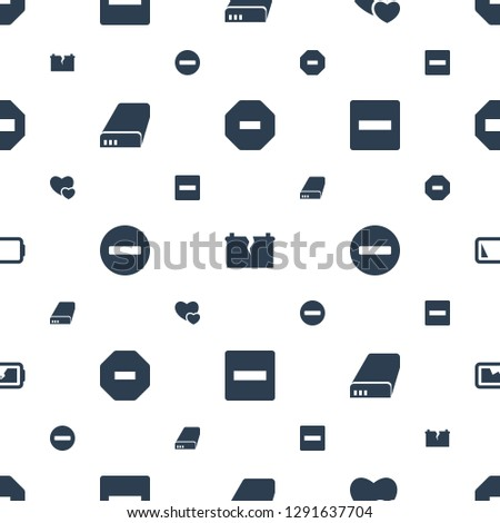minus icons pattern seamless white background. Included editable filled broken battery, minus favorite, battery, low battery icons. minus icons for web and mobile.