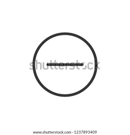 Minus in circle sign icon. Outline icon on white background. Minus sign Silhouette. Web site, page and mobile app design vector element.