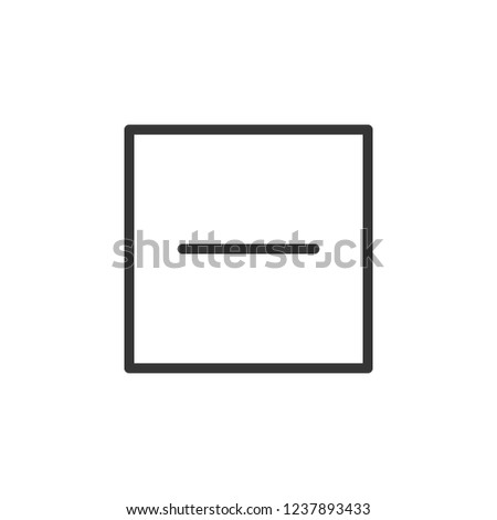 Minus in square sign icon. Outline icon on white background. Minus sign Silhouette. Web site, page and mobile app design vector element.