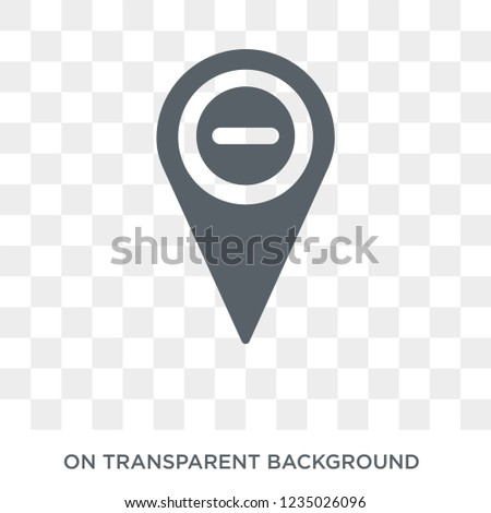 Minus Location icon. Trendy flat vector Minus Location icon on transparent background from Maps and Locations collection.