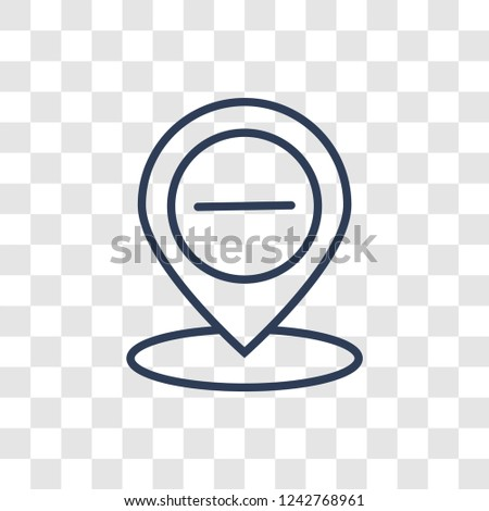 Minus Location icon. Trendy linear Minus Location logo concept on transparent background from Maps and Locations collection