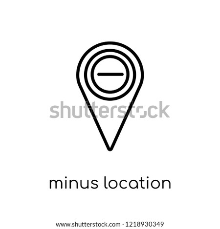 Minus Location icon. Trendy modern flat linear vector Minus Location icon on white background from thin line Maps and Locations collection, editable outline stroke vector illustration
