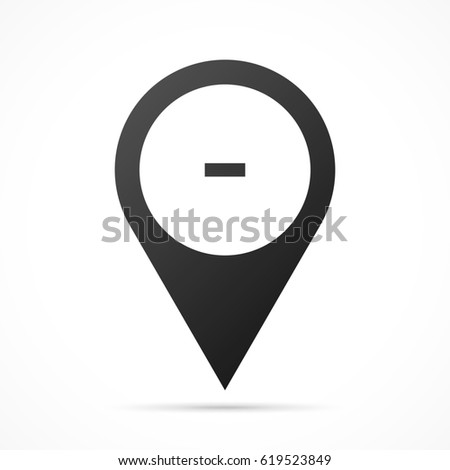 Minus sign on map pin. Location pointer isolated on a white background. Conceptual vector illustration.