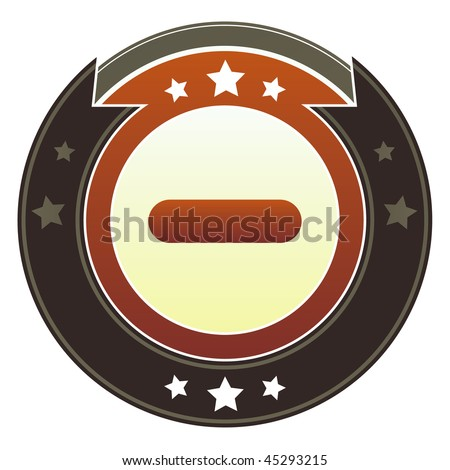 Minus, subtract, remove, or minimize icon on round red and brown imperial vector button with star accents - stock vector