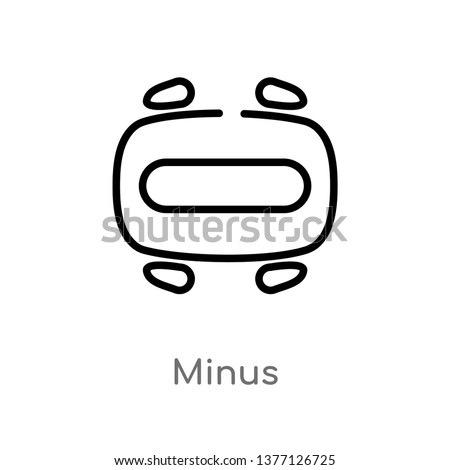 minus vector line icon. Simple element illustration. minus outline icon from signs concept. Can be used for web and mobile