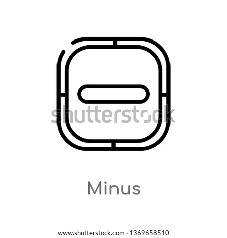 minus vector line icon. Simple element illustration. minus outline icon from user interface concept. Can be used for web and mobile
