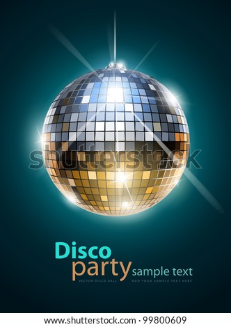 mirror disco ball vector illustration EPS10. Transparent objects and opacity masks used for shadows and lights drawing