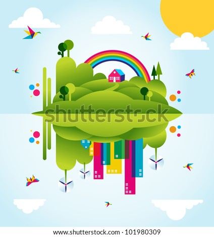 Mirror go green city in spring time. Industry sustainable development with environmental conservation background illustration. Vector file layered for easy manipulation and custom coloring.