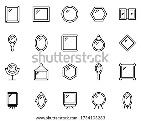 Mirror set line icons in flat design with elements for web site design and mobile apps.  Collection modern infographic logo and symbol. Mirror vector line pictogram Photo stock ©