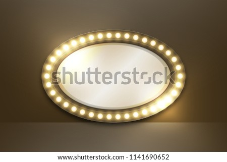 Mirror with Incandescent light bulb box frame oval shape set, illustration retro 3D style isolated glow in dark background with copy space, vector eps 10