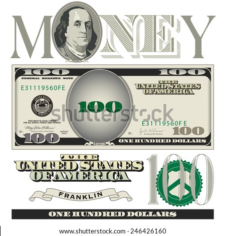 miscellaneous 100 dollar bill