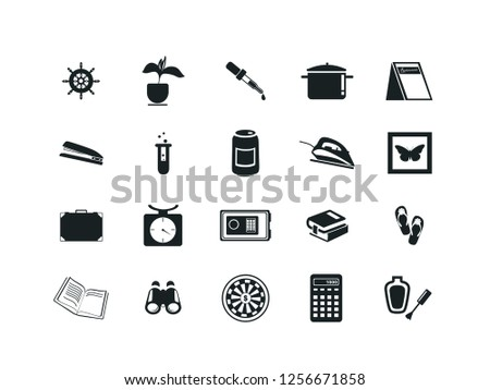 Miscellaneous items vector icon set. Contains such Icons as steering wheel, flower, pipette, pan, stapler, test tube, iron, scales, case, books, slippers, binoculars, darts. Editable.