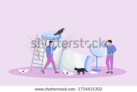 Misfortune signs and bad omens flat concept vector illustration. Young men in trouble, people with bad luck 2D cartoon characters for web design. Common superstitions, irrational beliefs creative idea Photo stock ©