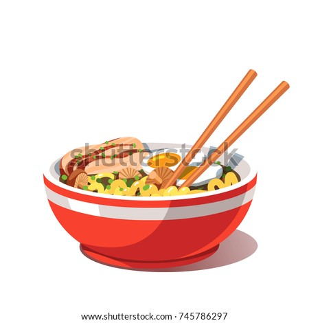 Miso chicken ramen soup bowl with noodles, sliced chashu braised then roasted chicken, boiled eggs, shiitake mushrooms, chopsticks. Traditional Chinese & Japanese dish. Flat vector illustration.
