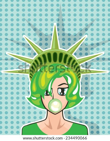 miss america vector cartoon