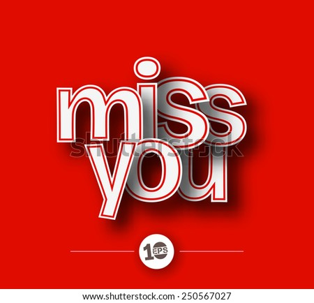 miss you text made of 3d vector