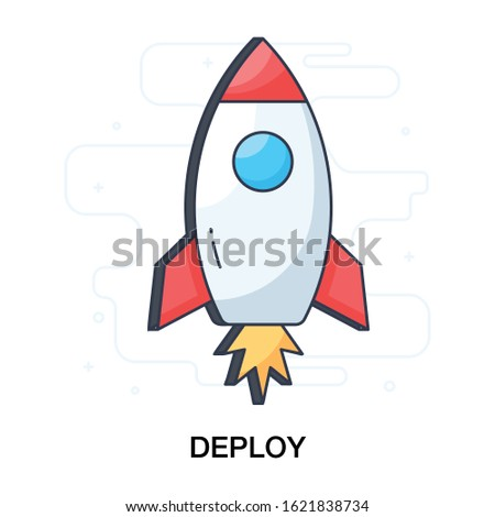 Missile, rocket launcher icon in flat design.