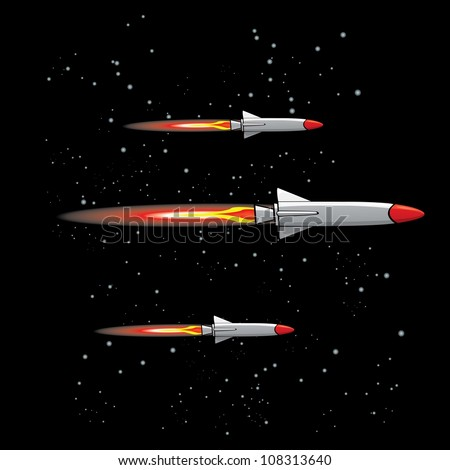 missiles fly in sky vector