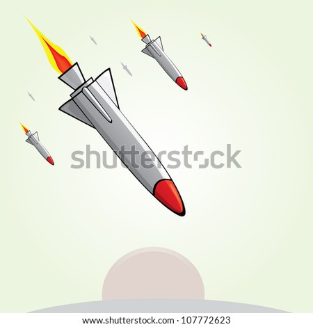 missiles fly to the ground. Vector illustration of war.