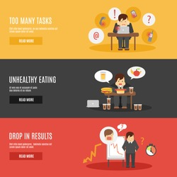 Missing deadline unhealthy eating man character multitasks work stress flat horizontal banners set abstract isolated vector illustration