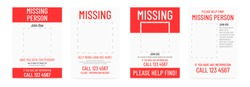 Missing poster template. Person lost banner design