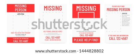 Missing poster template. Person lost banner design Сток-фото ©