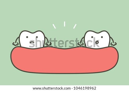missing tooth, space between teeth in mouth - dental cartoon vector flat style cute character for design