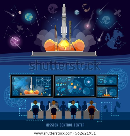 Mission Control Center, start rocket in space. Modern space technologies, return report of start of rocket. Space shuttle taking off on mission, spaceport