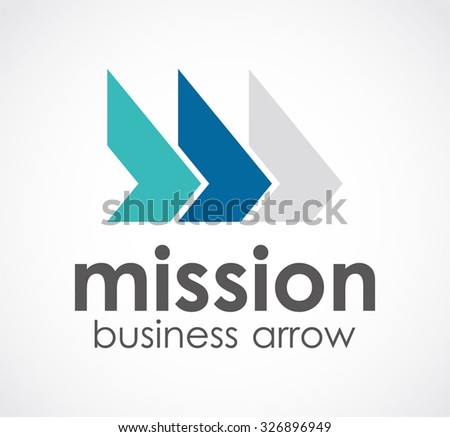Mission forward triple arrow direction abstract vector and logo design or template office business icon of company or corporate identity symbol concept