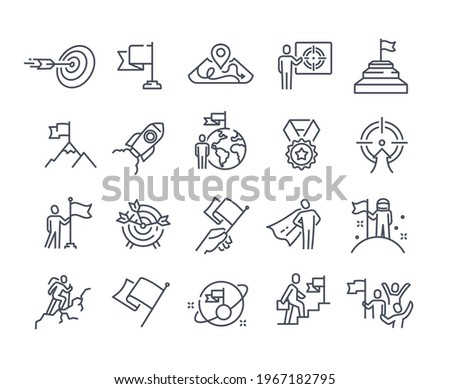 Mission, purpose, objective, aim outline icons. Business concepts. Businessman with flag, achievement and goal icons. Editable stroke. Set of flat vector illustrations isolated on white background Сток-фото ©