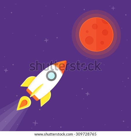 Mission to Mars. Manned flight to mars. Rocket flying to the red planet
