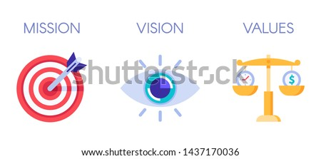 Mission, vision and values. Business strategy icons, company value and success rules. Responsibility mission symbols, working organization goal or teamwork plan. Isolated flat vector illustration