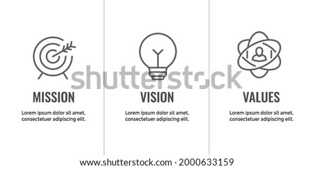 Mission Vision and Values Icon Set with mission statement, vision icon, etc.