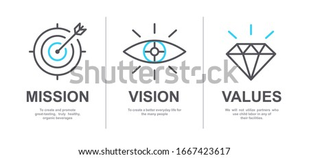 Mission, Vision and Values of company with text. Web page template. Modern flat design. Abstract icon. Purpose business concept. Mission symbol illustration. Abstract eye. Business vision presentation