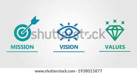 mission vision values icon design  Photo stock ©