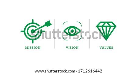 Mission vision values icon . Organization mission vision values icon design vector