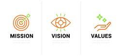 Mission. Vision. Values. Web page template. Modern flat design concept.