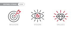 Mission. Vision. Values. Web page template. Modern flat design concept
