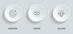 Mission. Vision. Values. Web page template. Modern flat design concept. Eps10