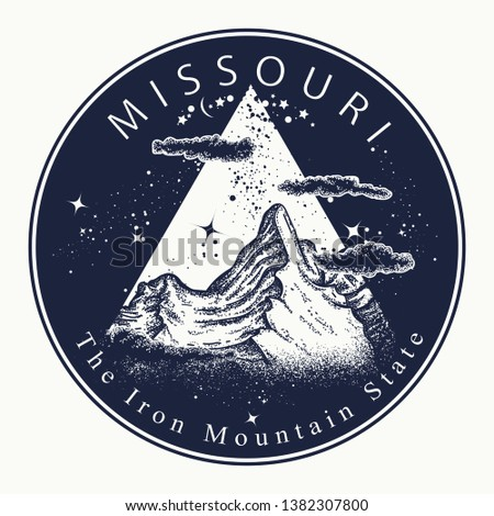 44f872485b75d Symbol of tourism, travel, · Missouri. Tattoo and t-shirt design. Welcome  to Missouri (USA).